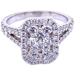Split Shank Pave Set Diamond Engagement Ring with Halo and Cluster Center