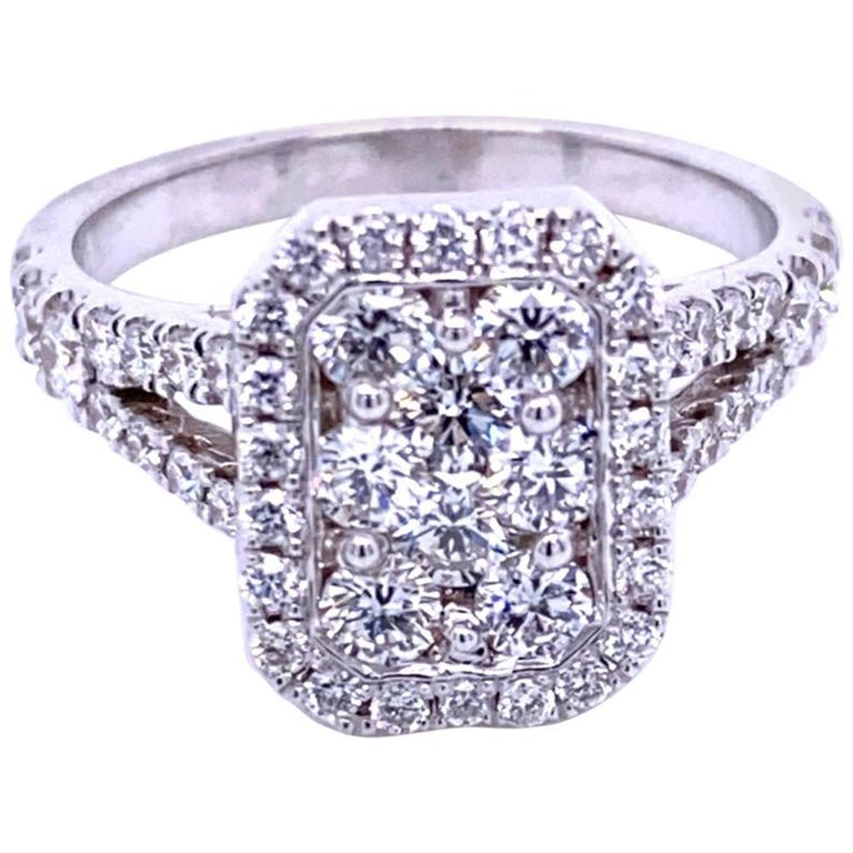 Split Shank Pave Set Diamond Engagement Ring with Halo and Cluster Center For Sale