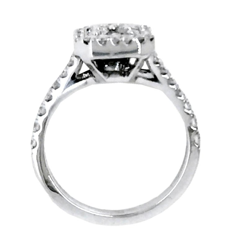 Contemporary Split Shank Pave Set Diamond Engagement Ring with Halo and Cluster Center For Sale