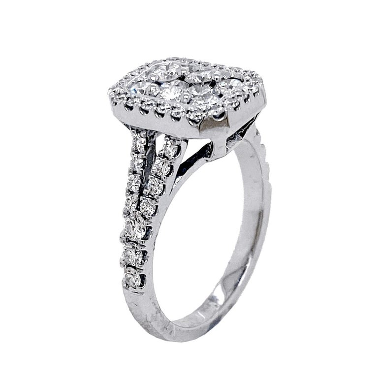Round Cut Split Shank Pave Set Diamond Engagement Ring with Halo and Cluster Center For Sale