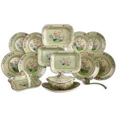 Spode Creamware Dessert Service, Avocado Green, Chinoiserie, Regency, 1814