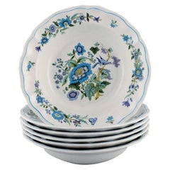 Spode, England, Six Deep Plates in Porcelain with Floral and Bird Motifs