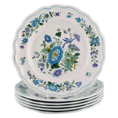 Spode, England, Six Dinner Plates in Hand-Painted Porcelain, 1960's/70's