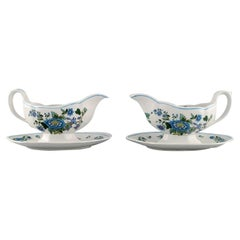 Spode, England, Two Mulberry Sauce Boats in Hand-Painted Porcelain