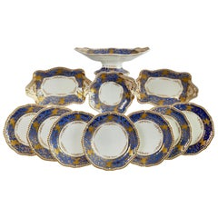 Spode Felspar Dessert Service, Periwinkle Purple and Raised Gilt, Regency 1828