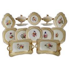 Spode Felspar Floral Dessert Service, Yellow, Butterfly Handles, circa 1822