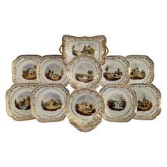 Spode Felspar Porcelain Dessert Service, Landscape Paintings, Regency ca 1820