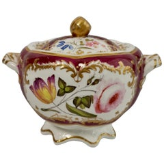 Spode Felspar Porcelain Sucrier, Maroon with Flowers, Rococo Revival, circa 1830
