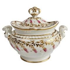 Spode Felspar Porcelain Sucrier, White, Gilt and Pink Harebells, circa 1828