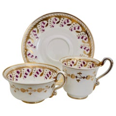 Spode Felspar Porcelain Teacup Trio, White with Harebell Pattern, Regency, 1826