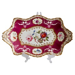 Spode Felspar Serving Dish, Maroon with Sublime Flowers, 1831