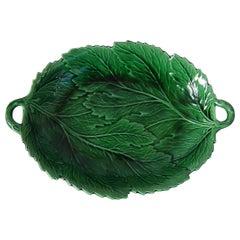 Spode Green Majolica Two-Handled Leaf Platter