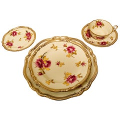 Spode Made for Tiffany 68 Piece Dinner Service Decorated with Large Pink Roses