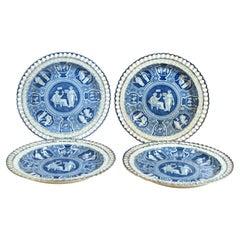 Spode Neo-classical Greek Pattern Blue Openwork Dessert Plates