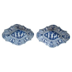 Spode Neo-classical Greek Pattern Blue Oval Dessert Dishes