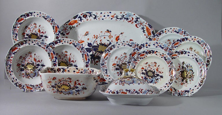 Ironstone Spode New Stone China Dinner Service Eighty Four Pieces, Pattern #3504 For Sale