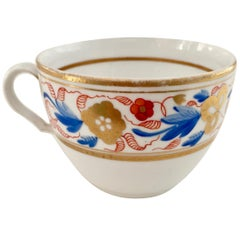 Spode Orphaned Porcelain Teacup, White with Red & Blue Flowers, Georgian, 1807