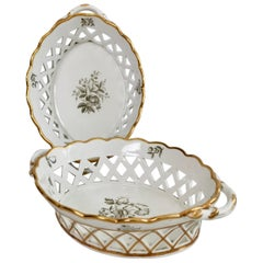 Spode Pair of Porcelain Bread Baskets, White with Bat Printed Flowers, ca 1810