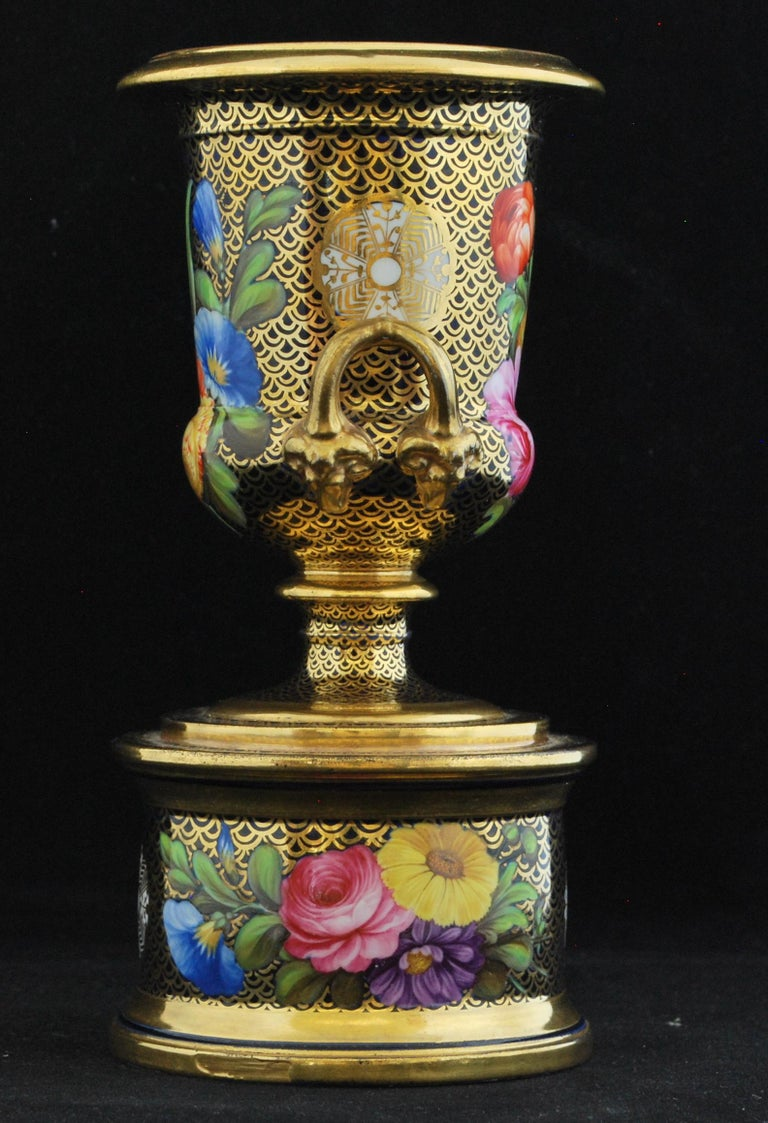 Classical meets regency: A miniature campana vase, decorated with pattern 1166.