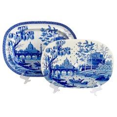 """Spode Pearl Ware Meat Platter and Drainer, """"Tiber"""" Blue & White, Regency"""