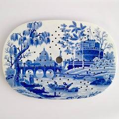 """Spode Pearlware Drainer, """"Tiber"""" Blue & White Regency 1811-1833"""