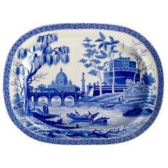 Spode Pearlware Meat Platter, Blue and White Tiber Pattern, Regency, 1811-1833