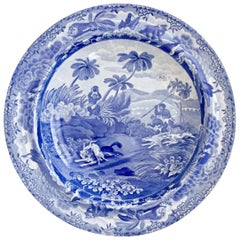 "Spode Pearlware Soup Plate, Blue and White ""Chase After A Wolf"", 1815-1833"