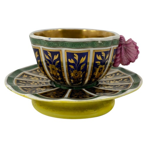 Spode Porcelain Cup and Saucer, 'Butterfly' Handle, circa 1810