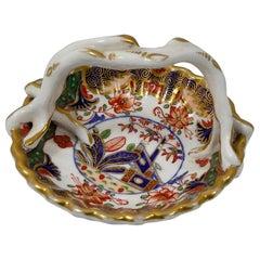 Spode Porcelain Miniature Basket, Imari Pattern, circa 1810