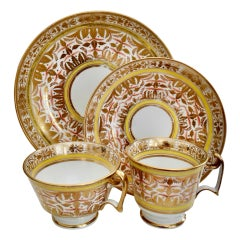 Spode Porcelain Teacup Set, Gilt, Yellow and Red Regency Pattern, circa 1815