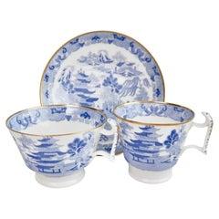 Spode Porcelain Teacup Trio, Brosely Pagoda Blue and White Transfer, ca 1815