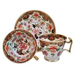 Spode Porcelain Teacup Trio, Imari Pattern, London Shape, Regency ca 1817