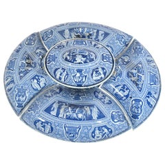 Spode Pottery Neo-classical Greek Pattern Blue Printed Supper Set