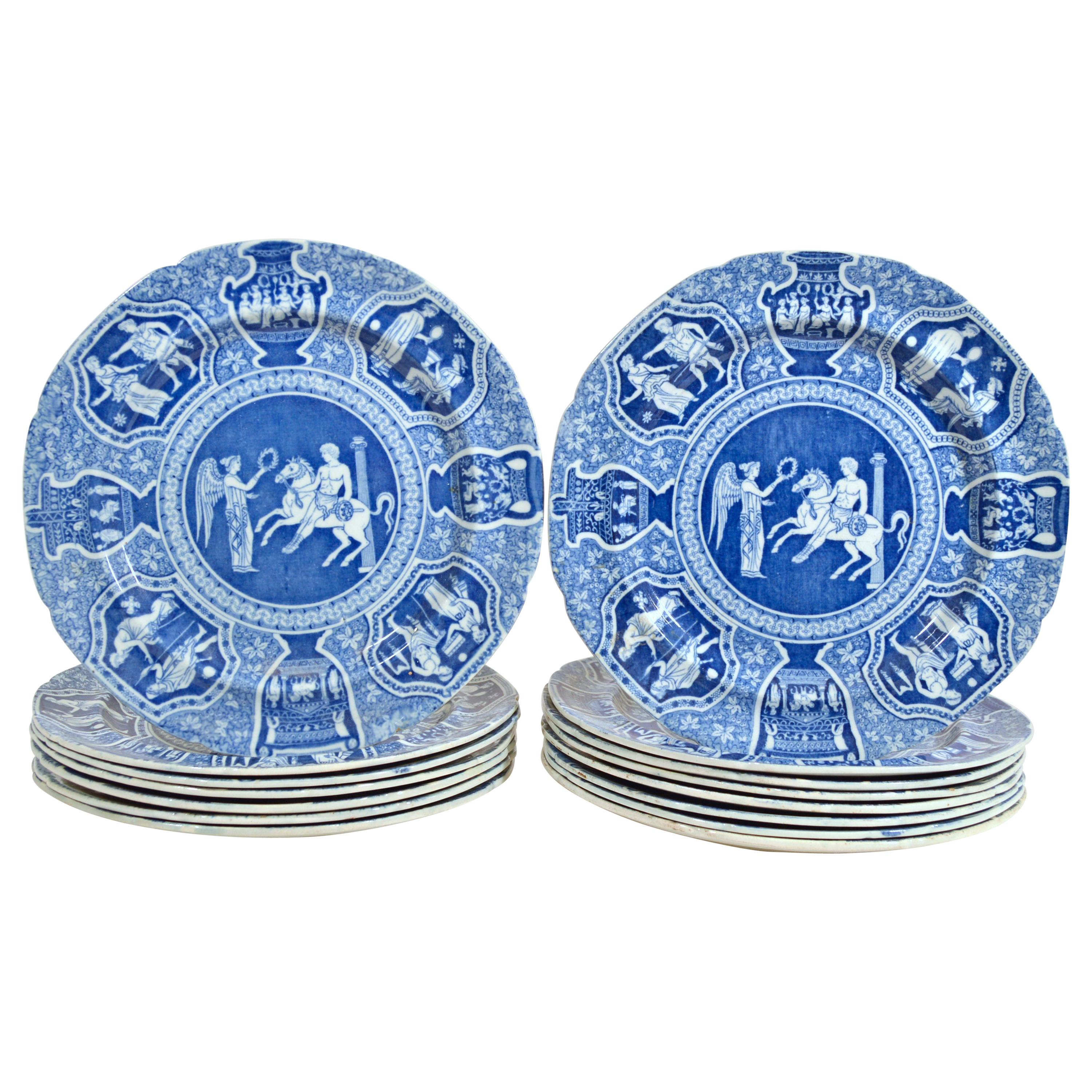 Spode Pottery Neo-classical Greek Pattern Blue Salad Plates