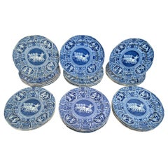 Spode Pottery Neo-Classical Greek Pattern Blue Set of Dinner Plates-33 Plates