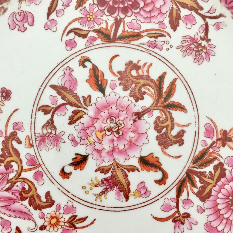 English Spode Stone China Plate, Pink Japan Pattern No. 3144, Regency 1812-1833 For Sale