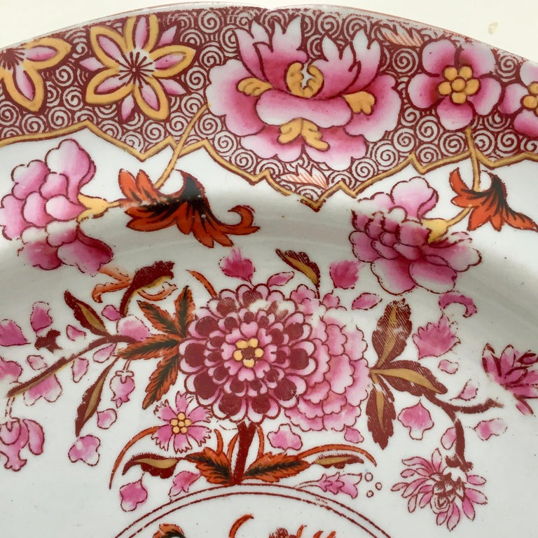 Hand-Painted Spode Stone China Plate, Pink Japan Pattern No. 3144, Regency 1812-1833 For Sale