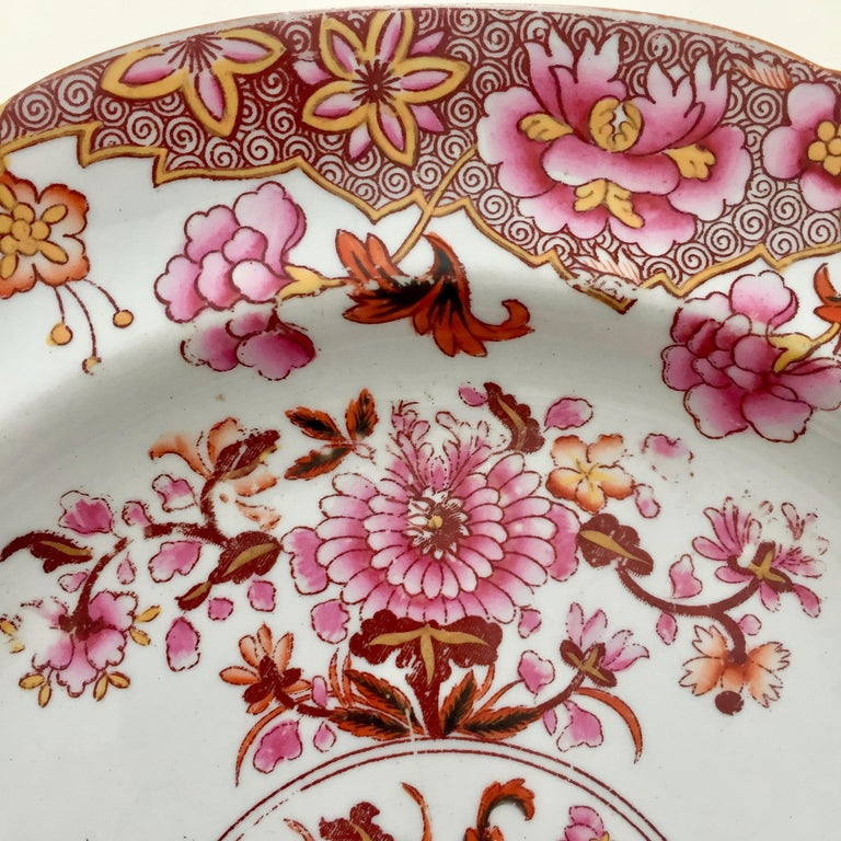 Early 19th Century Spode Stone China Plate, Pink Japan Pattern No. 3144, Regency 1812-1833 For Sale