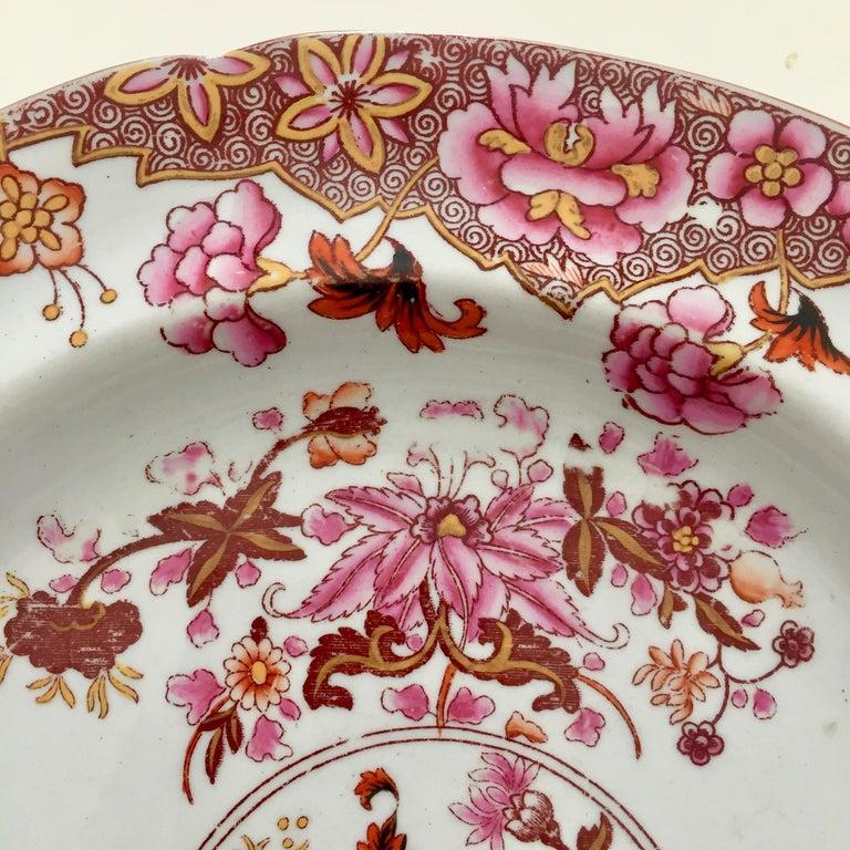 Creamware Spode Stone China Plate, Pink Japan Pattern No. 3144, Regency 1812-1833 For Sale