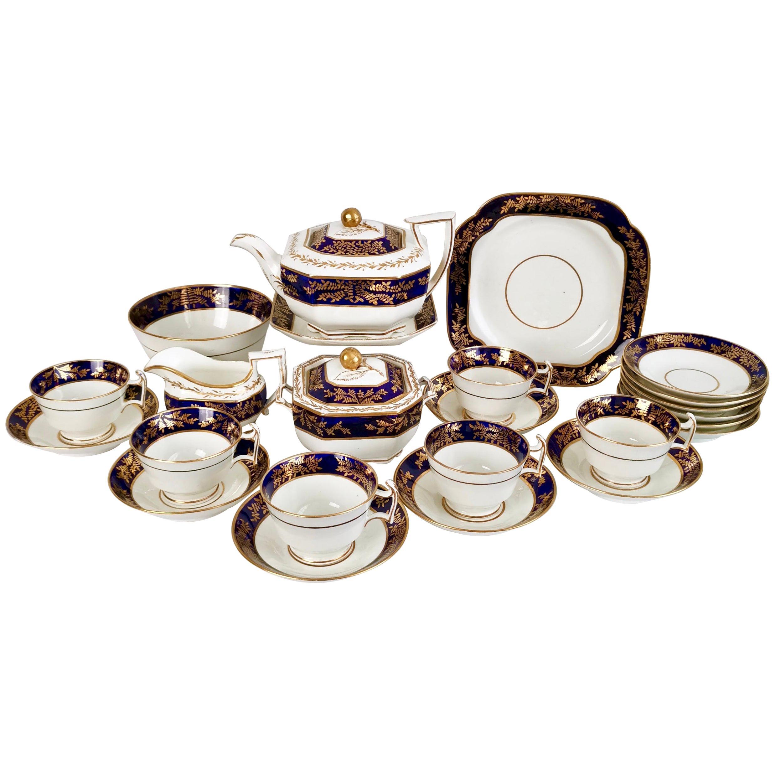 Spode Tea Service, Felspar Porcelain White and Cobalt Blue, Regency 1815-1820