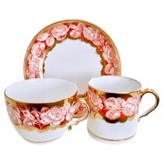 Spode Teacup Trio, Red Pluck and Dust Rose Border, Georgian, circa 1806