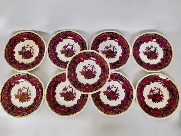Spode's Imperial Part Dessert Service, Frog Pattern in Mauve, Regency circa 1828 For Sale 4