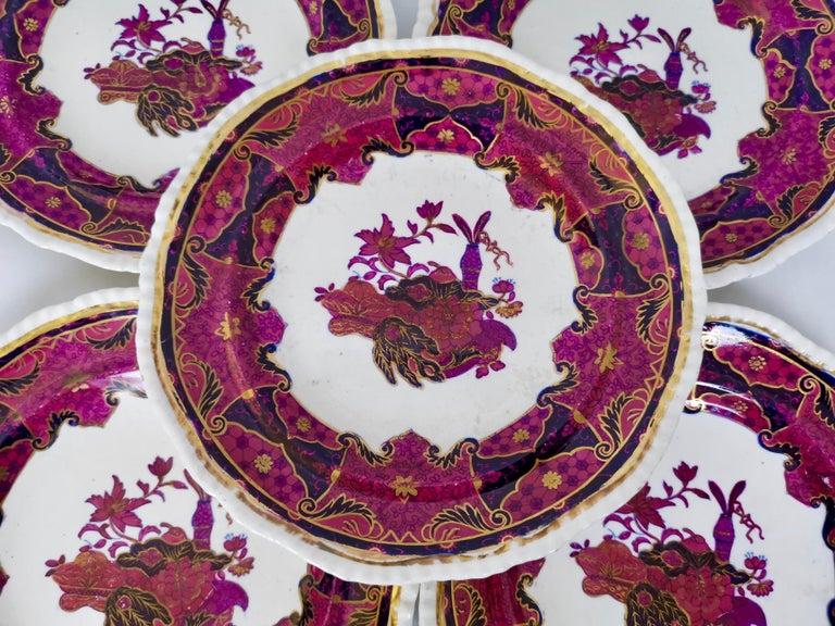 Spode's Imperial Part Dessert Service, Frog Pattern in Mauve, Regency circa 1828 For Sale 5