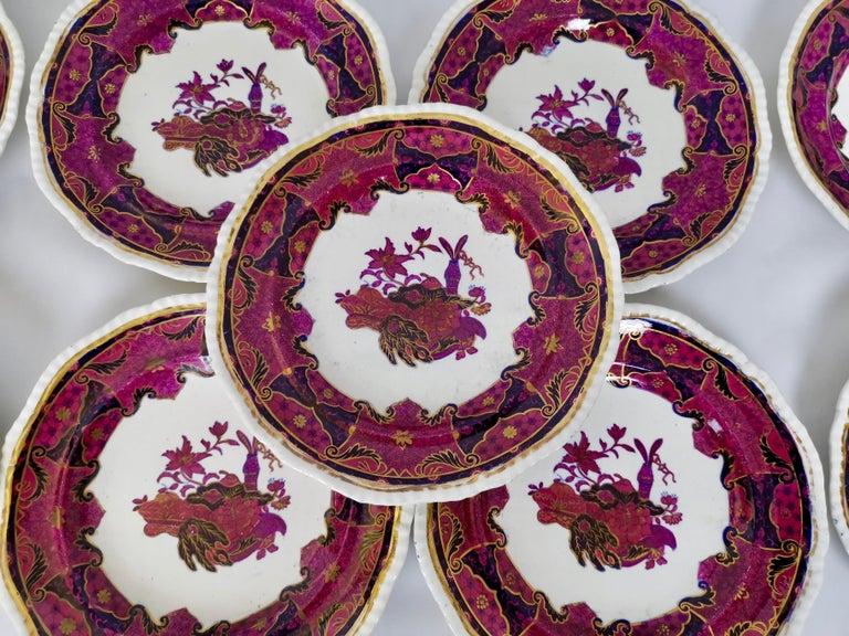 Spode's Imperial Part Dessert Service, Frog Pattern in Mauve, Regency circa 1828 For Sale 6