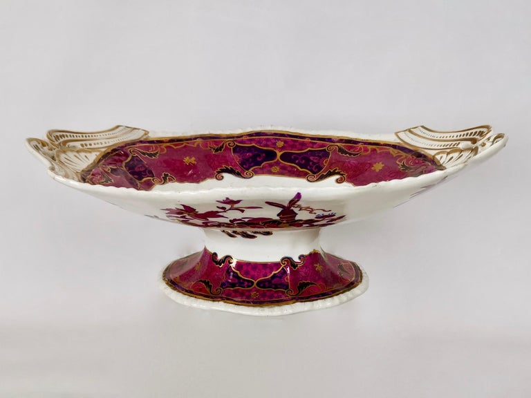 English Spode's Imperial Part Dessert Service, Frog Pattern in Mauve, Regency circa 1828 For Sale
