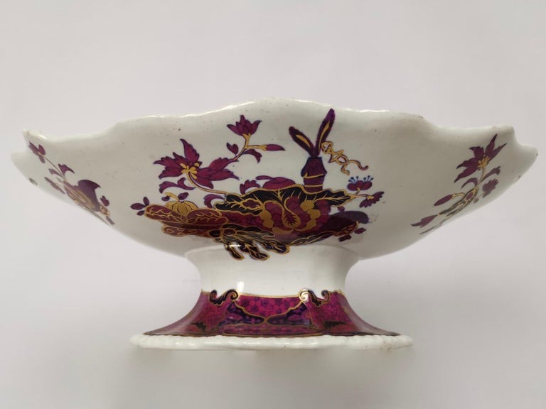 Hand-Painted Spode's Imperial Part Dessert Service, Frog Pattern in Mauve, Regency circa 1828 For Sale