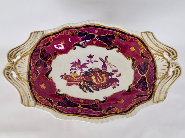 Spode's Imperial Part Dessert Service, Frog Pattern in Mauve, Regency circa 1828 In Good Condition For Sale In London, GB