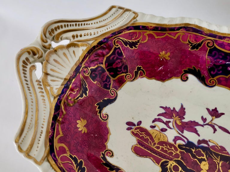 Early 19th Century Spode's Imperial Part Dessert Service, Frog Pattern in Mauve, Regency circa 1828 For Sale