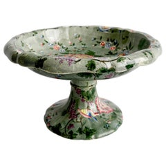 Spode's New Fayence Tazza, Green Chinoiserie Flowers and Birds, Regency, 1829