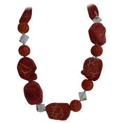 Sponge Coral Rock Crystal 925 Sterling Silver Gemstone Necklace
